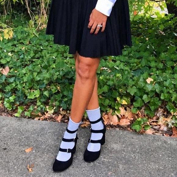 Plush Black Multiple Straps Buckle MaryJane Sandal